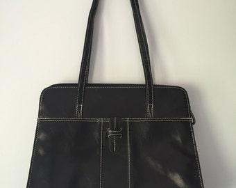 Vintage 90s Black Faux Leather Double Strap Tote Bag Purse