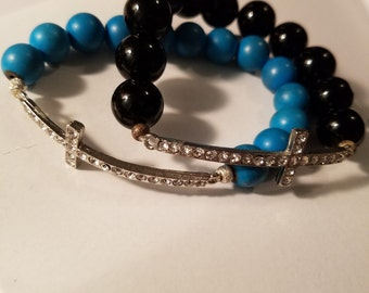 Rhinestone Studded Cross Bracelets