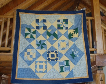 Blue and Yellow Block Quilt