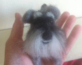 Your Pet Needle felted Miniature Snauzer replica of your Dog/Puppy/Pet/Animal