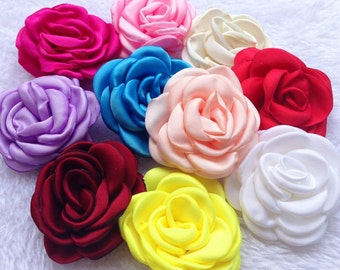 Satin Flower, Satin Rosette, Rosette, Fabric Flower, Grab Bag Rosettes, Hair Flower, Satin Flower, Rolled Rosettes , 10 per color,HEA-24