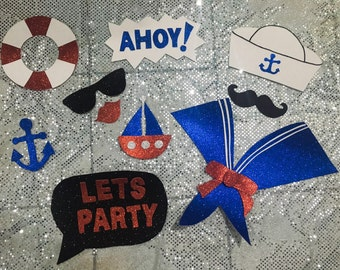 10-Nautical photo booth props- Nautical Party-Glitter photo booth props - Navy party - Nautical photo booth
