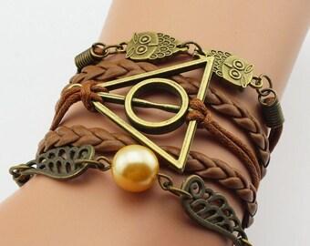 Harry Potter - Golden Snitch Owl, Deathly Hallows Bracelet