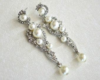 Pearl Drop Chandelier Earrings. Long Pearl Wedding Earrings. Rhinestone Dangle Earrings. Pearl Bridal Earrings. Vintage Style Pearl Earrings
