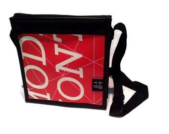 Small shoulder bag red lettering white