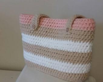 Tri-tone Crocheted Shoulder Bag