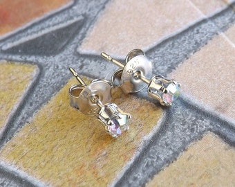 """Earrings-Swarovski 3 mm light """"crystal ab"""" and Silver 925"""