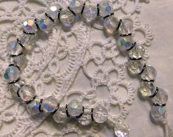 Casual Crystal Rondelle and Jumpring Layering Bracelet