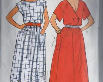 Sewing Pattern Butterick 3280 Womens Summer Cap or Short Sleeve Dress Back Wrap Bodice Sz. 8 & 10