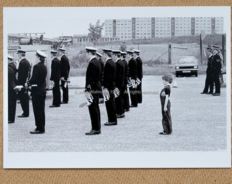 Boy lining up with the band, Wester Hailes, Edinburgh, 1979.  #75821