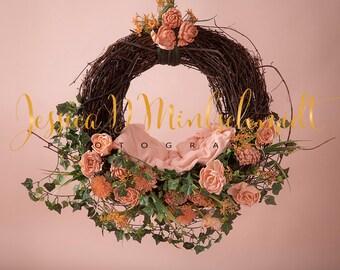 NEWBORN DIGITAL BACKDROP: Peachy Floral Hanging Nest
