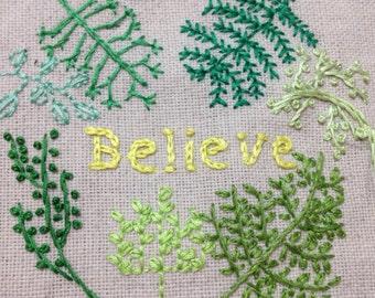 Believe Green, Embroidery Hoop Art, Needlepoint, Cotton Home Decor, Fabric Wall Hanging, Wall Art, Handmade Gifts