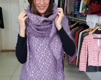 Large handwoven shawl, Fall winter women accessories,Purple silver gray handwoven shawl