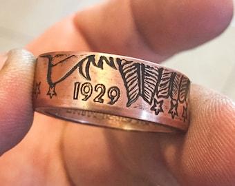 Handmade Copper Coin Ring (Incuse Indian 1/2oz) .999 Fine Copper