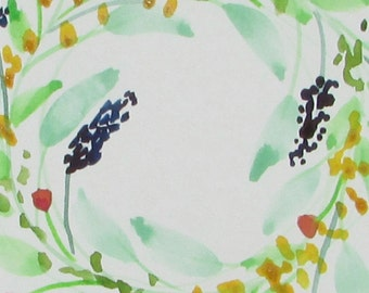 watercolor painting floral wreath