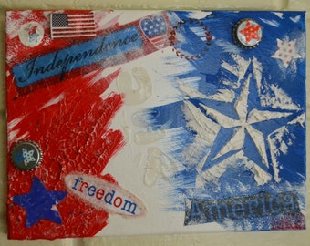 """4th of July - 12""""x9"""" Canvas"""