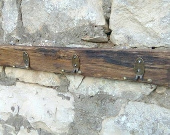 Rustic handmade wood with metal hooks retro country stile