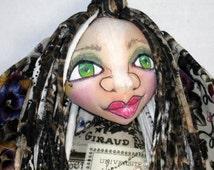 T-Shirt Yarn Hair Goddess Fairy OOAK Cloth Art Doll, Faery Fae Art Doll
