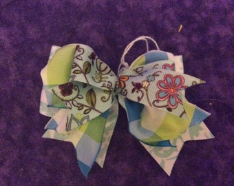 Green and Blue floral hair bow