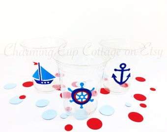 Nautical Party Cups/Nautical Theme Party/Nautical Party Theme/Sail Boat Party/Party Cups/Nautical Baby Shower/Nautical Birthday/Party Favors