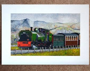 "Caernarfon To Portmadock Railway - signed original acrylic painting on 26x18"" canvas board"