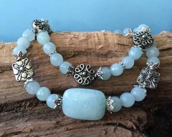 Aqua Gemstone Bracelet Set, Beaded Bracelets, Stretch Bracelets, Boho Bracelets, Stacking Bracelets, Gift for Her, Elastic Bracelets