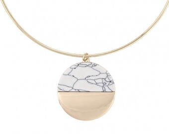 accessoryCOCO - Geo Circle Marble Necklace