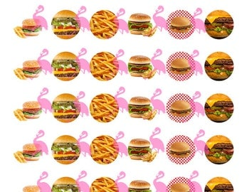 """Burgers and Fries Digital Collage Sheet Instant Download, 1"""" Circles"""