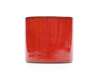 Reserved for Zeinab-Retro red flower pot