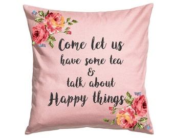 Let Us have Tea - Throw Pillow- Decorative Pillow-Throw Pillow Cover