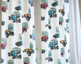 Monaco Classic Cars Kids Curtains, Kids Panels, Kidsroom Curtain, Children Curtains, Nursery and Baby Curtains, Boys Curtain, Curtain Panels
