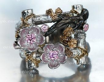 statement flower ring Hanami sakura Sterling silver 925 cherry blossom