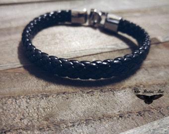 """Black Leather Bracelet Blank Blank Bracelet Woven Leather with Silver Clasp 8"""" Wholesale Bracelet"""