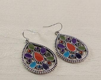 Boho Teardrop Multicolor Beaded Earrings Dangle