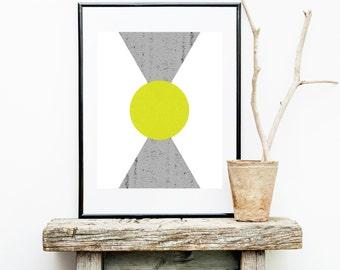 Symmetrical Mountain Print in Gray