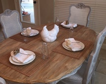 Farmhouse Dining Set- Drexel Heritage Refinished - 8 Chairs and Table with 2 Leafs
