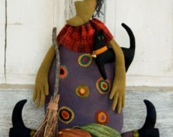 Threads that Bind Perfect Potion Halloween Witch Felt, Felting character, instructions, supply list, witch, black cat, halloween decorations