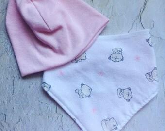 Newborn Bib and Hat Set, Bandana Bib, Beanie Hat