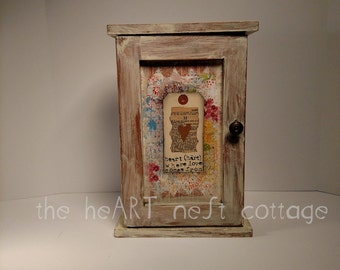Rustic jewelry box, artsy mini cabinet, mixed media collaged box, necklace holder, ring holder, upcycled cabinet