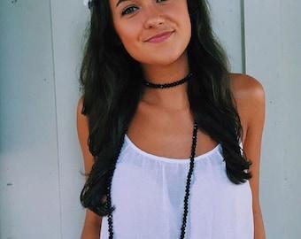 Black Beaded Choker-necklace