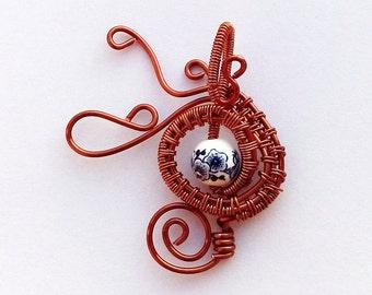 Copper and Porcelain Pendant