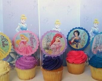 15 Princess Disney Themed Cupcake Toppers, Princess Birthday Party Supplies, Princess Cake Decorations, Princess Birthday Party