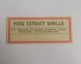Antique Pharmacy Label - Pure Extract Vanilla Apothecary Label, Vanilla Extract, Extract Label, Vanilla, Cooking Labels, ***Free Shipping***