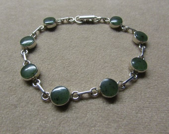 Beautiful Jade STERLING silver round-stone bracelet.
