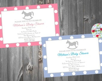 Baby Shower Invitation with cute rocking horse. Blue and Pink Boy or Girl