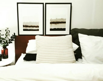 Set of 2 Original Art Prints Unframed - Beige Brown Neutral Abstract Acrylic Minimalist Contemporary Artwork Painting Interior Styling