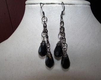 Black and Gun Metal Tear Drop Earrings