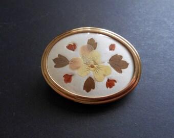 Oval Brooch, Dried, Pressed Flower Arrangement, Gold Toned Frame And Back
