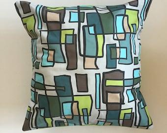 Bright Lights Big City Decorative Pillow-16x16-Throw Pillow-Pillow Cover-Green-Interior-Design-Fabric-Art-Decorating-Colorful-Home Decor