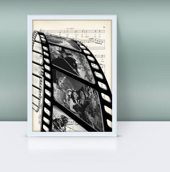The Wonderful Wizard of Oz Filmstrip on Vintage Music Page, Cool Art Print